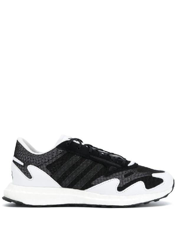 Y-3 Rhisu Leather Sneakers In Black