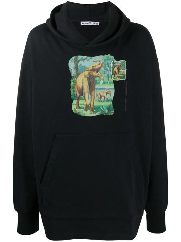 Acne Studios Elephant Graphic Cotton Hooded Sweatshirt In Black