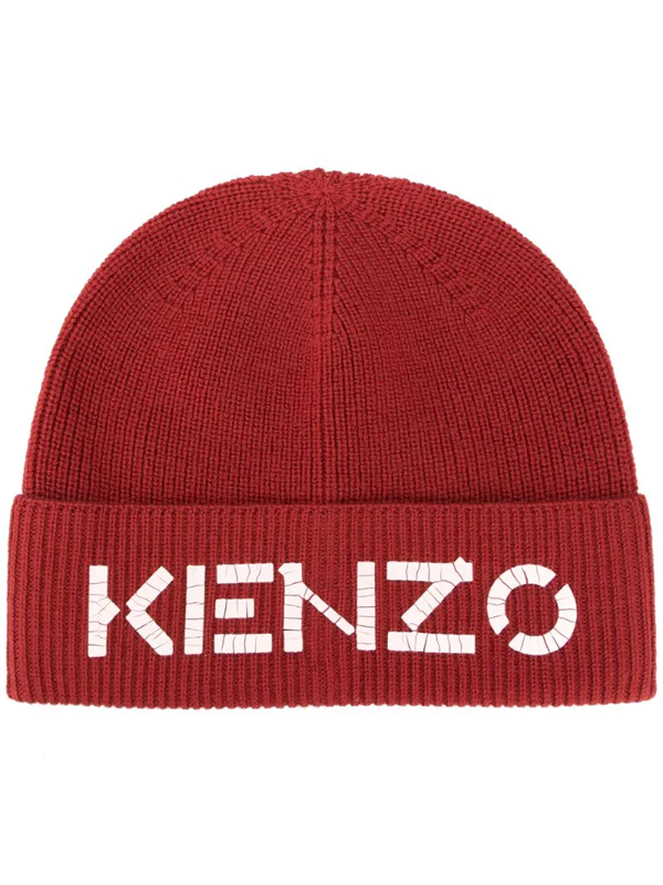 Kenzo Logo-print Ribbed-knit Beanie In Red