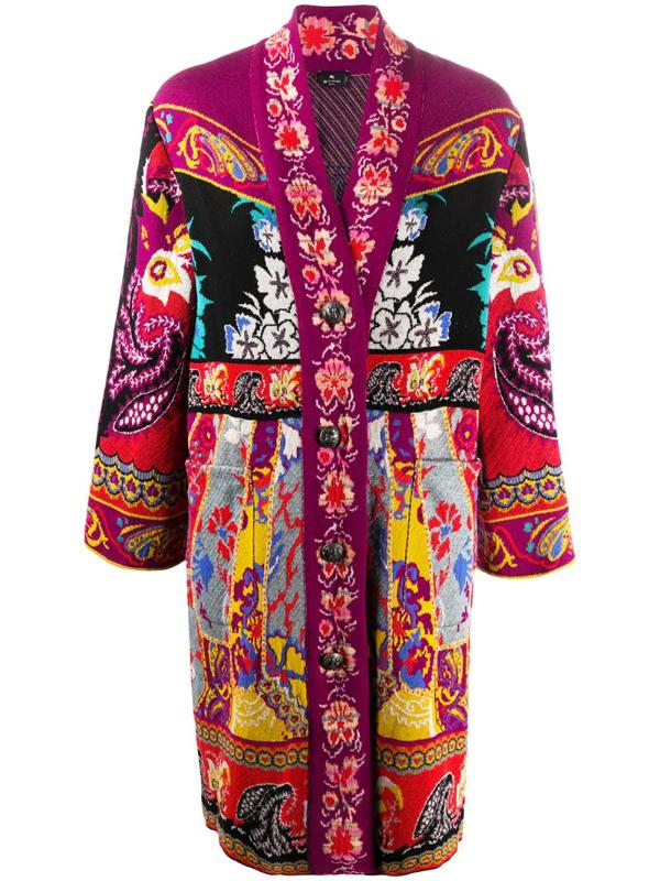 Etro Women's Exotic Intarsia Knit Coat In Pink