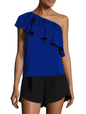 Milly Ruffled One-Shoulder Stretch-Silk Top, Cobalt