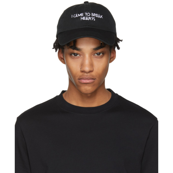 Nasaseasons I Came To Break Hearts Embroidered Cap In Black