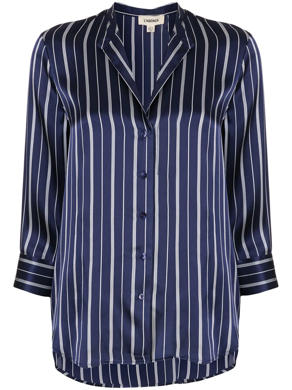 L Agence Women's Aoki Pinstripe Silk Blouse In Blue