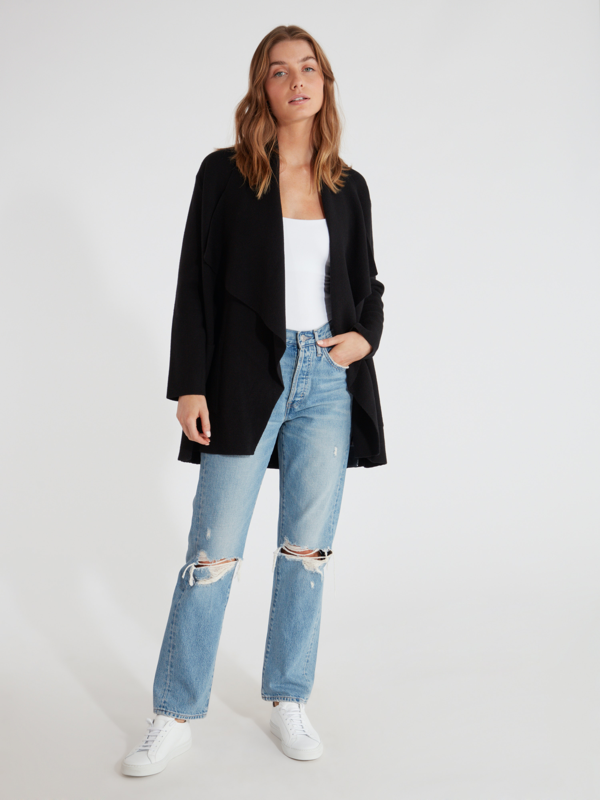 Cupcakes And Cashmere Marta Drape Front Coat - M In Black
