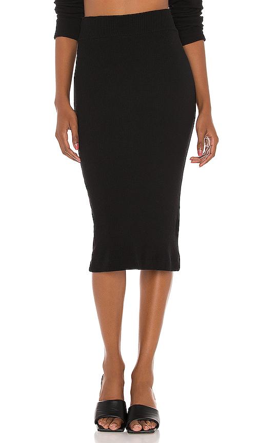 Enza Costa Sweater Knit Midi Skirt - L In Black