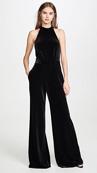 Misa Xandra Wide Leg Velvet Jumpsuit - Xs - Also In: M In Black