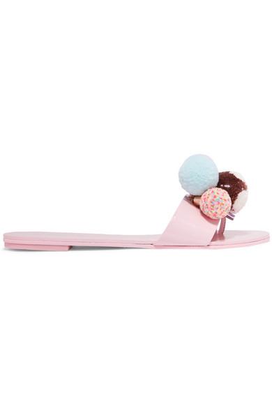 Sophia Webster Jada Pompom-embellished Patent-leather Slides In Pale Pink