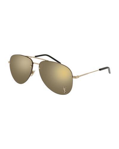 7d878264bb Saint Laurent Classic 11M Signature Metal Aviator Unisex Sunglasses In Gold
