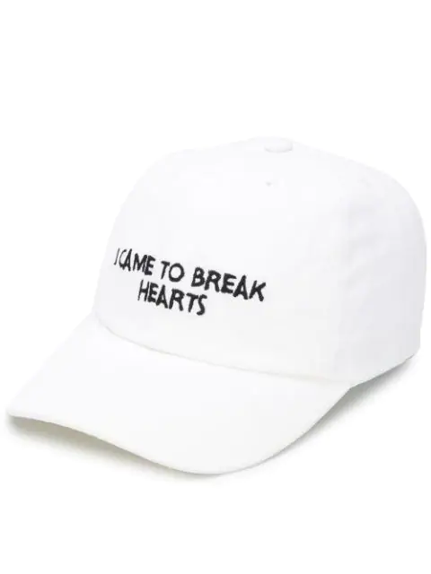Nasaseasons I Came To Break Hearts Embroidered Cap In White