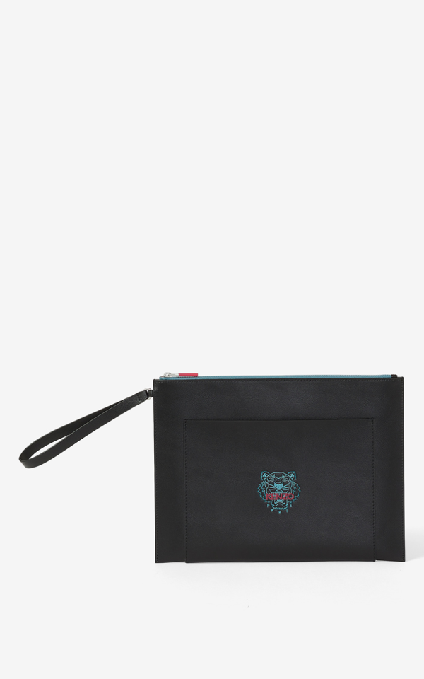 Kenzo Large Leather Ekusson Tiger Pouch In Black