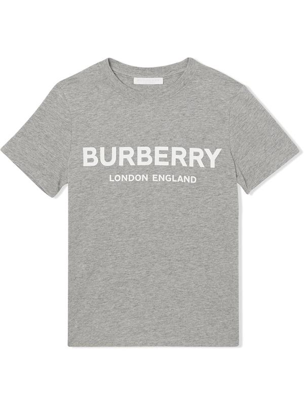 Burberry Kids' Logo Print Cotton T-shirt In Grey