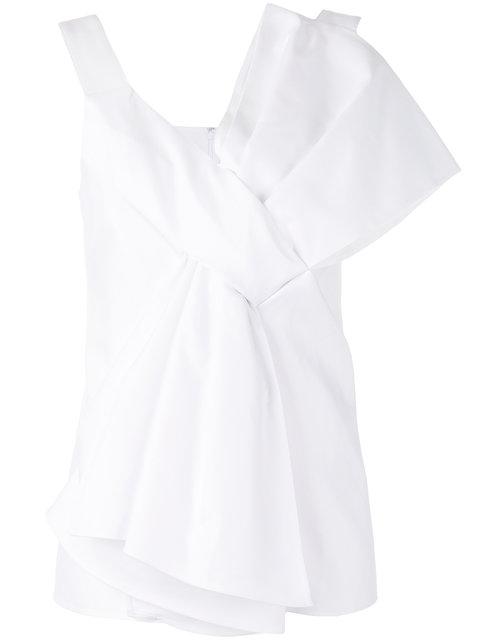 Victoria Victoria Beckham Asymmetric Bow Top In White