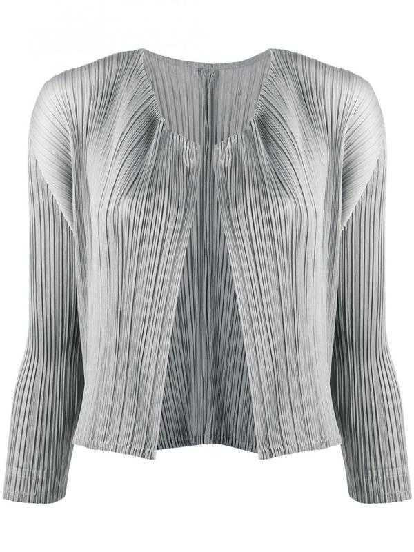 Pleats Please Issey Miyake Cardigan In Grey