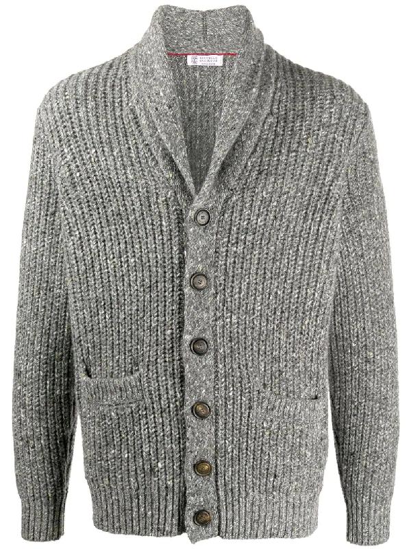 Brunello Cucinelli Shawl-collar Virgin Wool And Cashmere-blend Cardigan In Grey