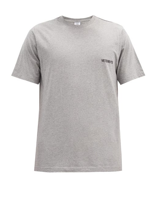 Vetements Logo-print Mélange Cotton-jersey T-shirt In Grey