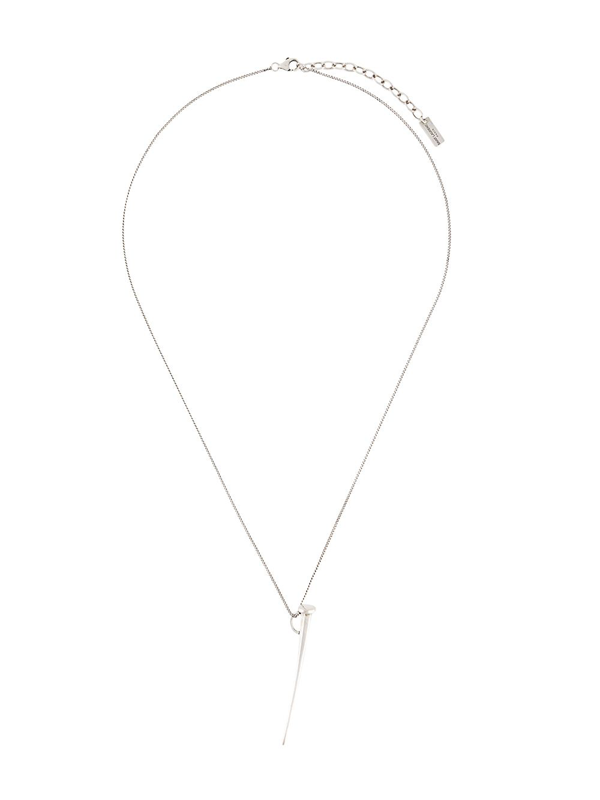 Saint Laurent Nail Pendant Necklace In Silver
