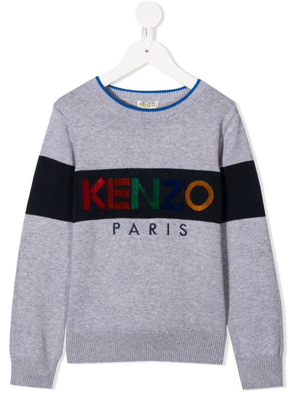 Kenzo Kids' Cashmere-cotton Blend Logo Print Knit Jumper In Grey