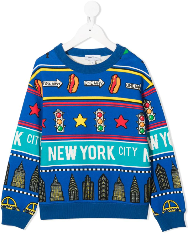 "Little Marc Jacobs Kids' Sweatshirt Mit ""new York City""-print In Blue"