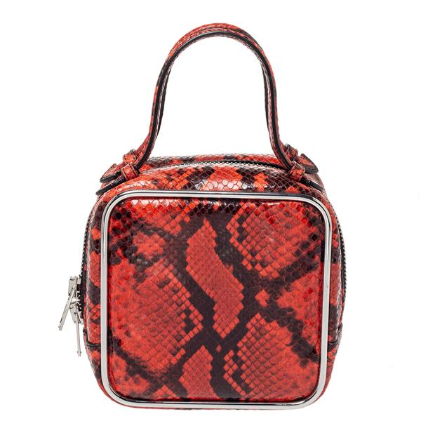 Pre-owned Alexander Wang Orange/black Python Effect Leather Halo Box Bag
