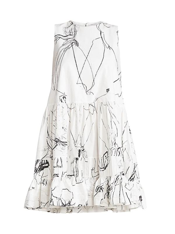 Alexander Mcqueen Women's Faces Sleeveless Babydoll Mini Dress In Ivory Black