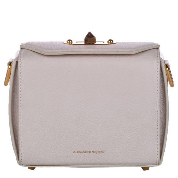 Pre-owned Alexander Mcqueen White Leather Box 16 Crossbody Bag
