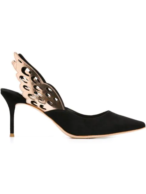 Sophia Webster Angelo Cutout Metallic-Trimmed Leather And Suede Slingback Pumps In Black Rose
