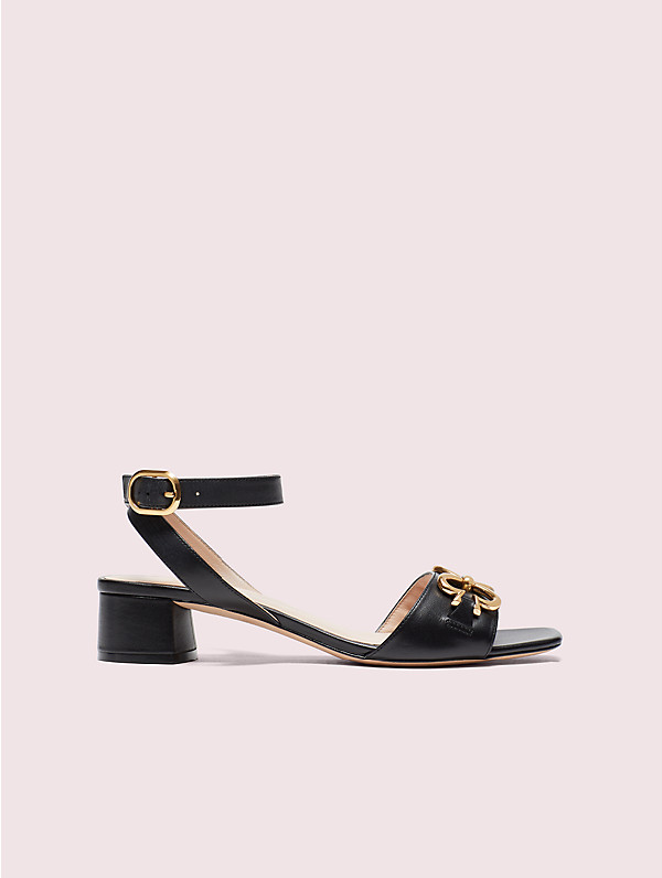 Kate Spade Lagoon Heart Chain Patent Leather Sandals In Black