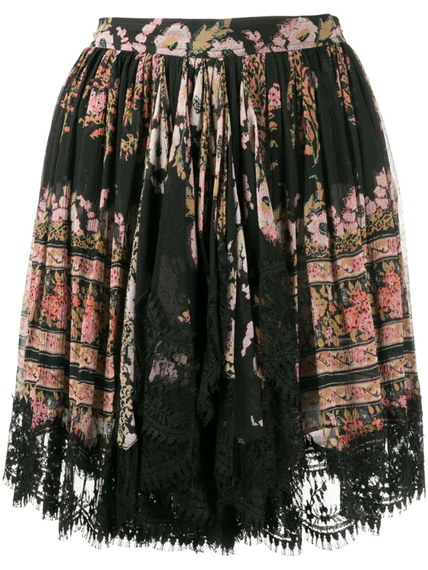 Etro Lace-trimmed Floral-print Silk-crepon Mini Skirt In Black