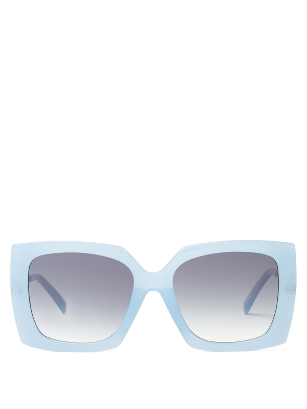 Le Specs Discomania Oversized Square Acetate Sunglasses In Blue