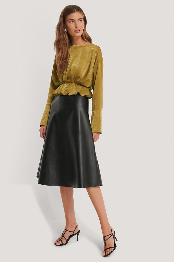 Gine Margarethe X Na-kd Pu Midi Skirt Black