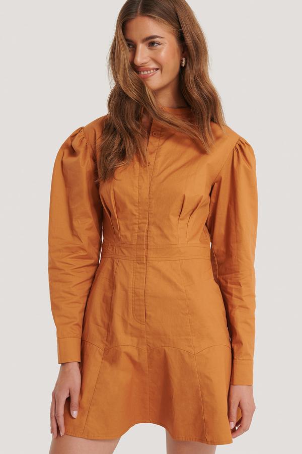 Gine Margarethe X Na-kd Mandarin Dress Copper In Rust