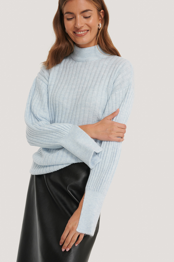 Gine Margarethe X Na-kd Cuff Slit Knitted Sweater - Blue In Powder Blue