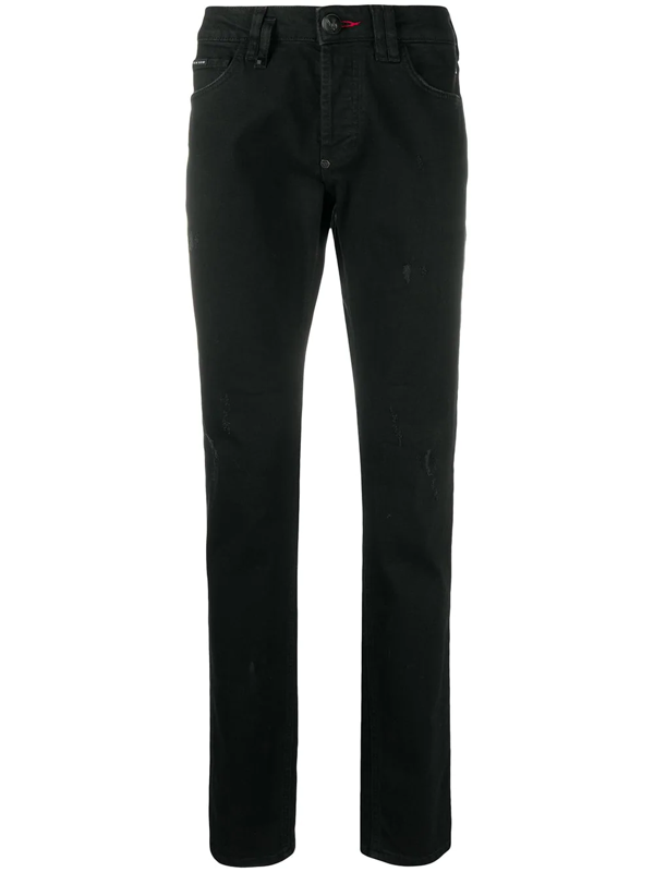 Philipp Plein Skull-embellished Straight-leg Jeans In Black