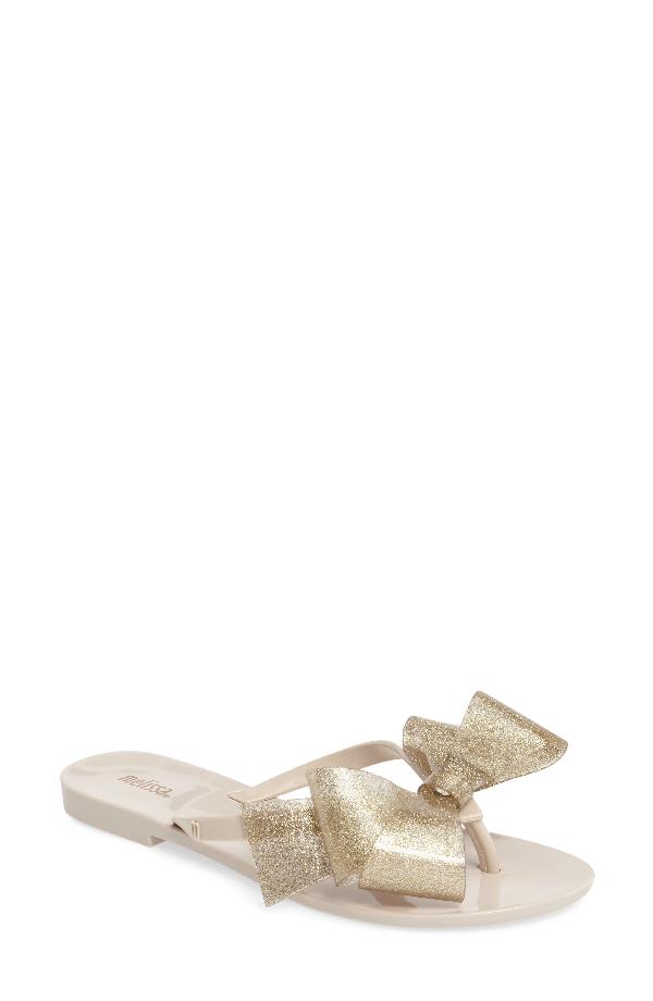 ce6c3ad7af6 Melissa Women s Harmonic Bow Iii Glitter Flip-Flops In Beige Gold Glitter