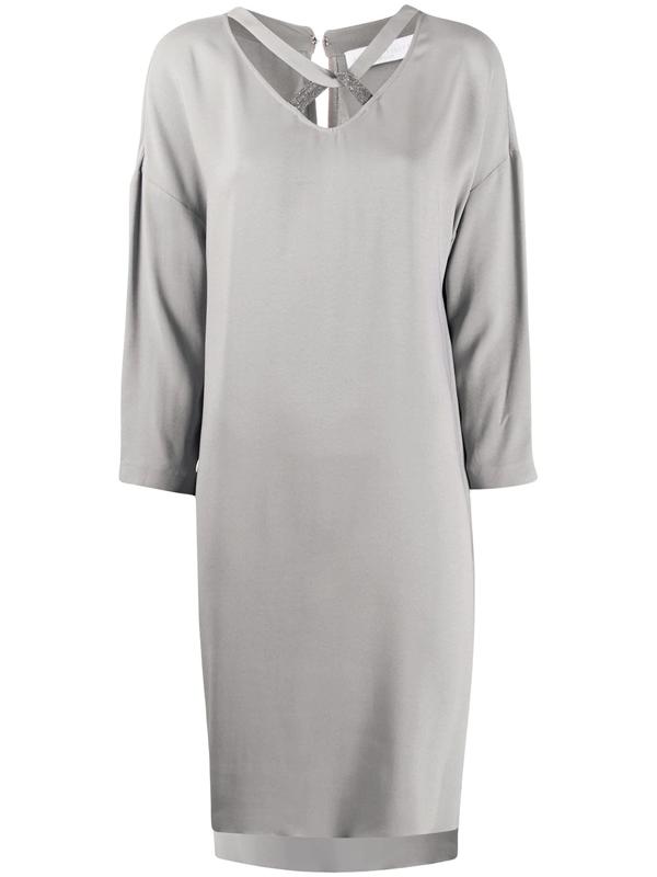 Fabiana Filippi Long Sleeve Beaded Knot Neck Shift Dress In Grey