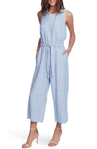 Vince Camuto Tranquil Stripe Sleeveless Belted Jumpsuit In Lake