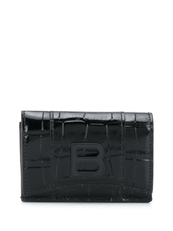 Balenciaga Hourglass Mini Wallet In Black
