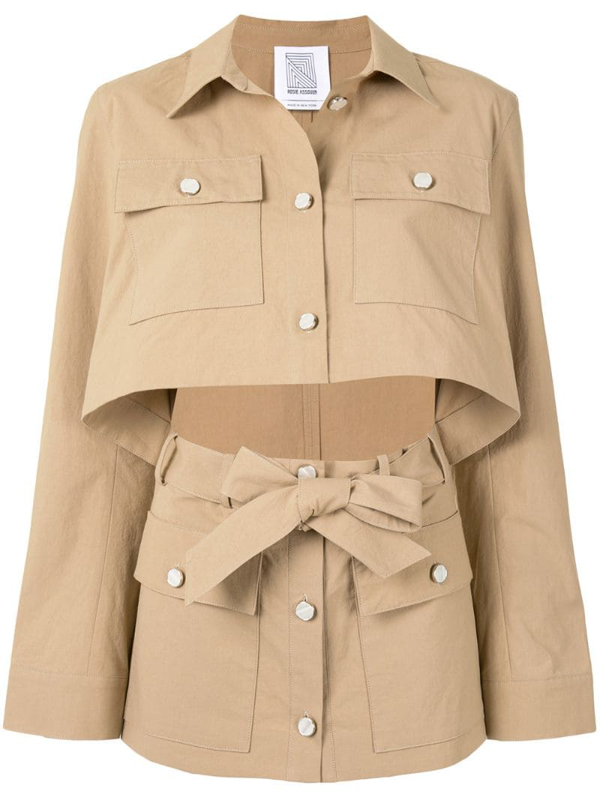 Rosie Assoulin Open Front Utility Shacket In Brown