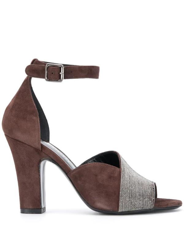 Fabiana Filippi Monili-embellished Sandals In Brown