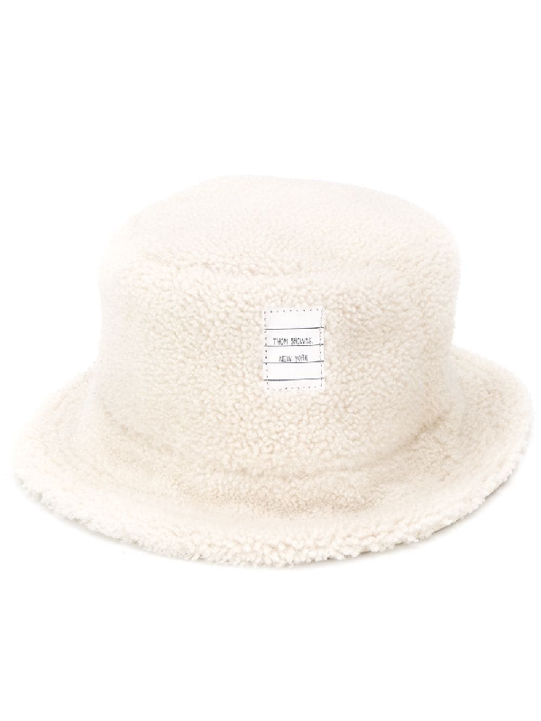 Thom Browne Shearling Bucket Hat In White