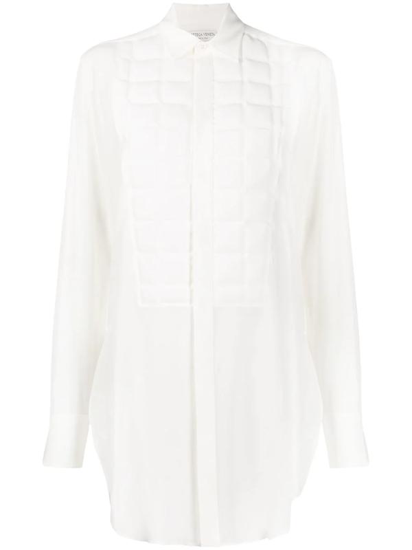 Bottega Veneta Silk Button-front Shirt W/ Quilted Bib In White