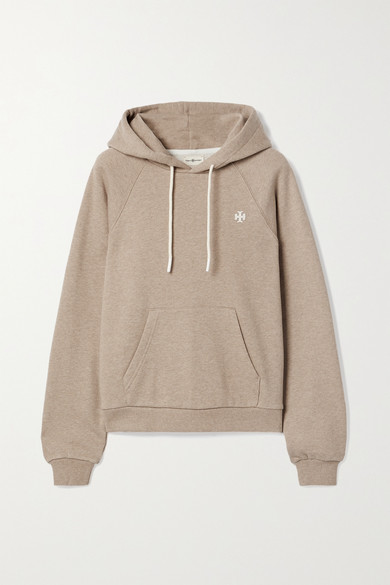 Tory Sport French Cotton-terry Hoodie In Beige