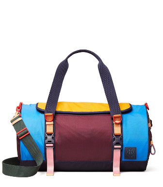 Tory Sport Ripstop Nylon Color-block Duffle Bag In Navy Blue
