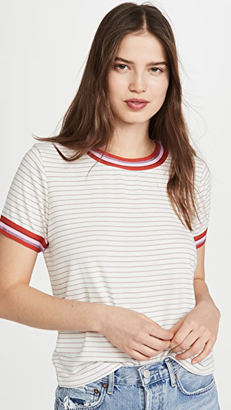Cupcakes And Cashmere Quily Striped T-shirt In White