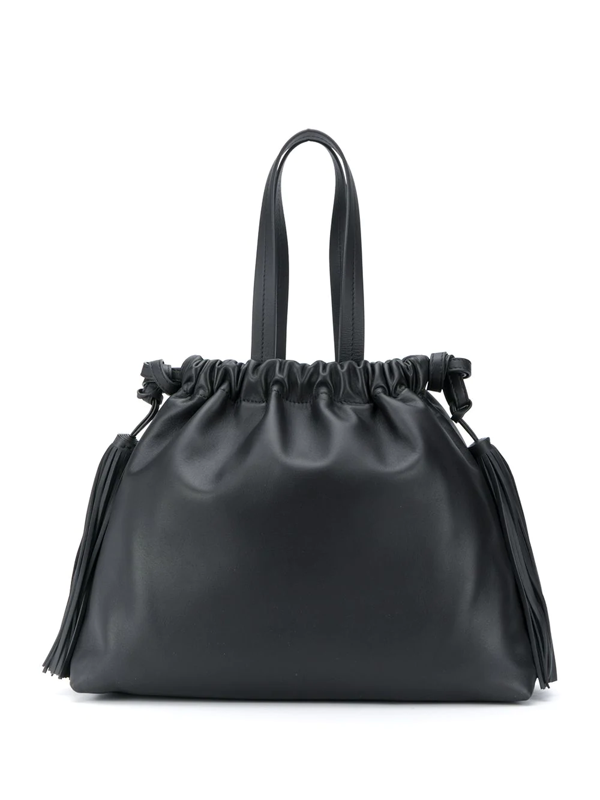 Attico Tassel-detail Top Handle Tote In Black