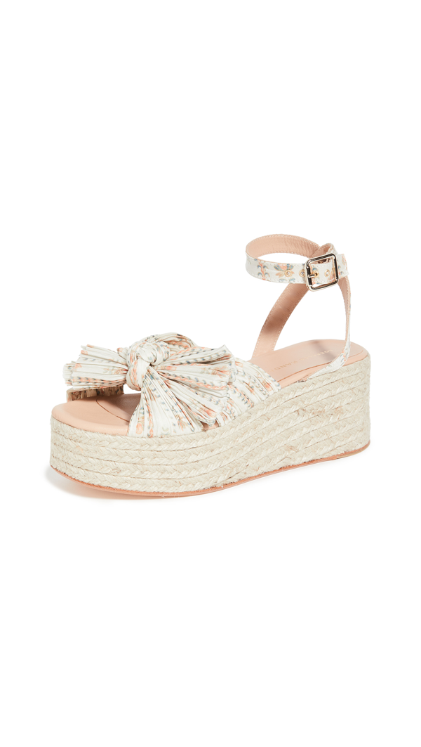 Loeffler Randall Posey Pleated Knot Flatform Espadrilles In Ticking Stripe Floral