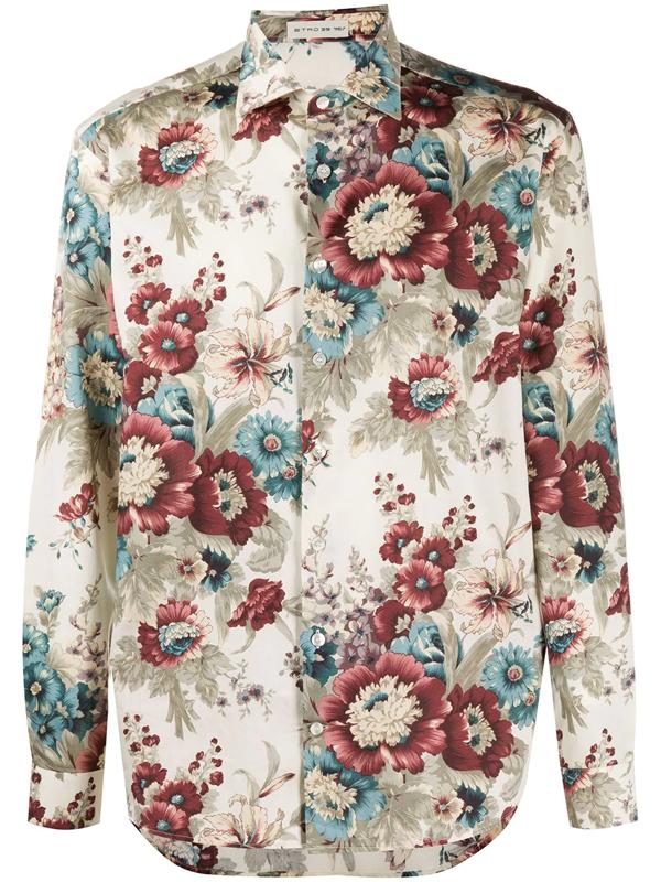 Etro Floral Print Cotton Shirt In Neutrals