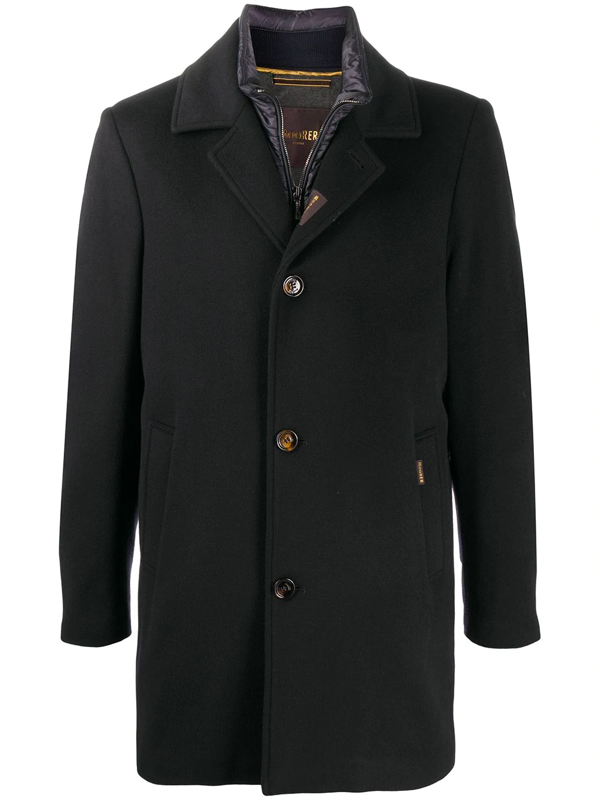 Moorer Tailored Single-breasted Coat In Blue
