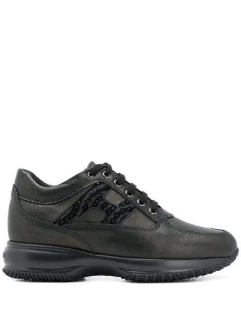 Hogan Interactive Leather Low-top Sneakers In Black