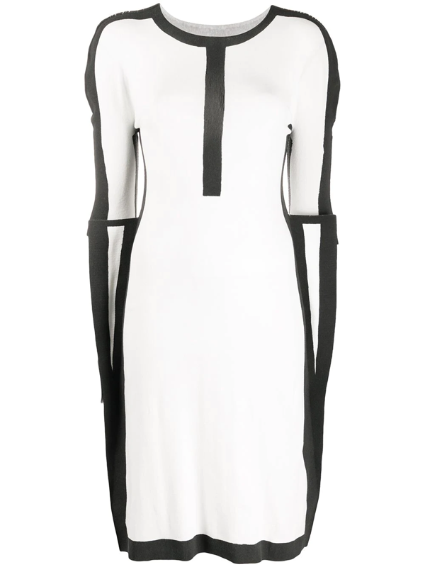 Issey Miyake Colour Block Knit Dress In White